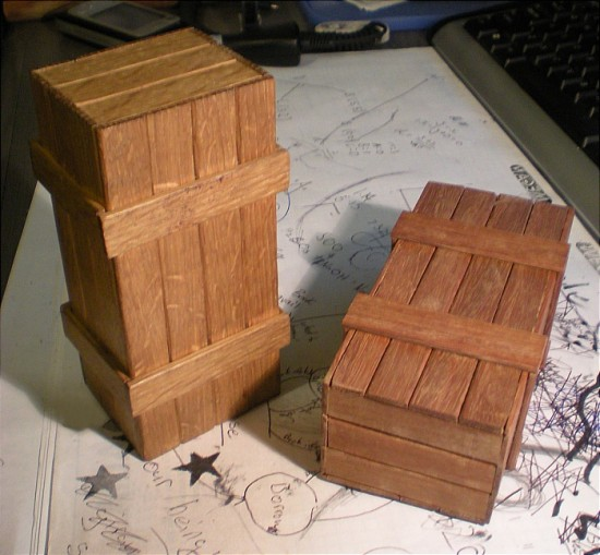 Two different boxes, the one on the right hasn't been sanded or oiled